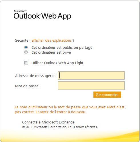 Outlook web app accesso